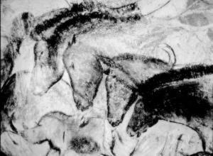 cave painting horses BW light